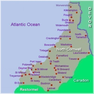 North Cornwall Area Map.  Copyright K.Edwards/Kestrel Solutions 1999